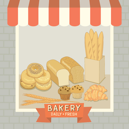 awnings: Bakery cafe shop showcase decoration with awning and brick wall in pastel background colors.Illustration vector. Illustration