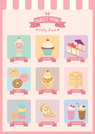awnings: Sweet various dessert and drink  menu cafe decoration with awning on pastel backgound colors.Illustration vector. Illustration