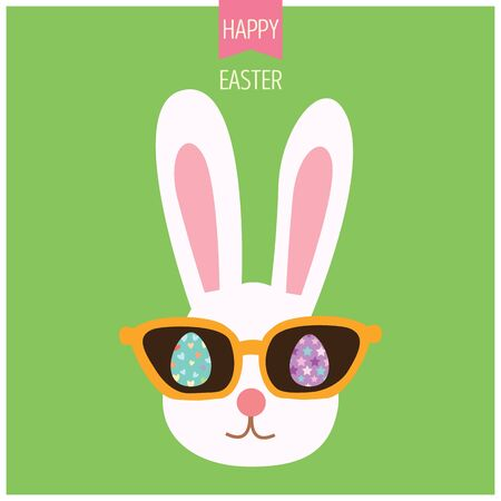 Illustration vector of bunny easter with sunglasses and eggs  in hipster style on green background.