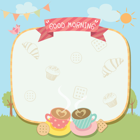 Illustration vector of good morning template coffee and bakery for breakfast.