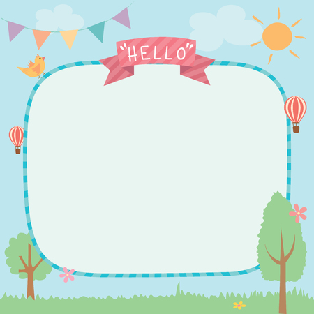 Illustration vector of cute summer background template decorated with ribbon and buntings.Blank for space. 矢量图像