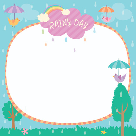 fl: Illustration vector of cute rainy day background template decorated with birds hold umbrella and rainbow.Blank for space. Illustration