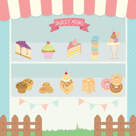 Illustration vector of sweet menu cute cafe.