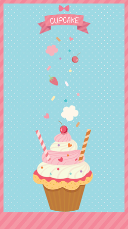 Cupcake menu poster decoration on blue background and spread toppings for vertical. Illustration