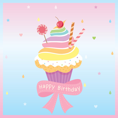 Illustration vector of rainbow cupcake decorated with raining creamy background for Birthday card.