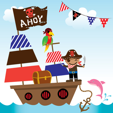 Illustration vector of cute pirate kids with ship on ocean sea background.