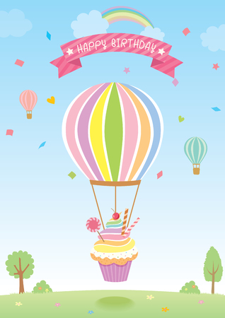 wishing card: Balloon cupcake decorated with confetti falling and rainbow on sky background for birthday card.