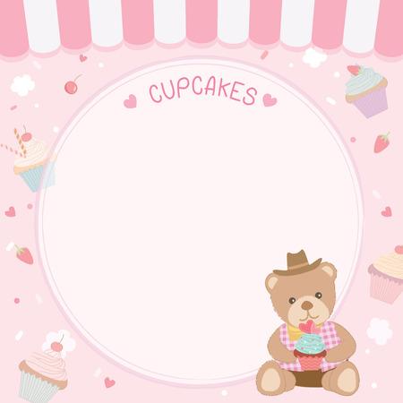 かわいいカップケーキ ピンクのパステル調の背景にメニュー テンプレートのために熊飾られています。