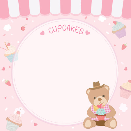 Cute cupcakes decorated with bear for menu template on pink pastel  background. 向量圖像