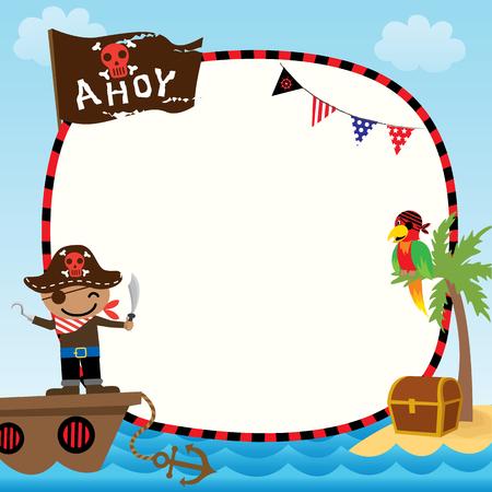 Illustratie vector van schattige kinderen piraat met schip op de oceaan zee achtergrond voor sjabloon.Blank naar de ruimte. Vector Illustratie