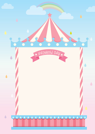 Circus template frame for template on rainy background with rainbow.Blank for your message. 矢量图像