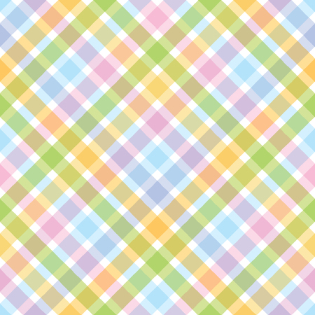 Rainbow diagonal tartan seamless pattern.Pastel color background.
