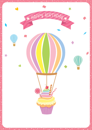 Balloon cupcake decorated with confetti falling and rainbow on white background isolated for birthday card.