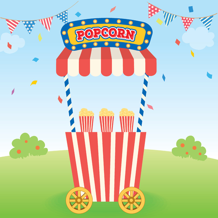 Illustration vector of popcorn cart for party on park background.