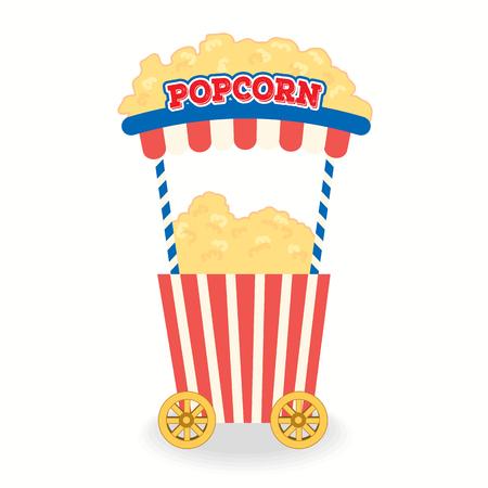 Vettore dell'illustrazione del carretto del popcorn per il fondo del partito isolato.