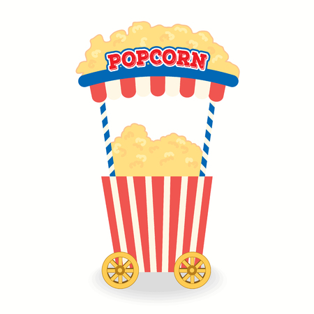 Illustration vector of popcorn cart for party  background isolated. Illustration