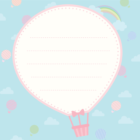 notebook: Cute notepad design with hot air balloon shape on background sky for template.