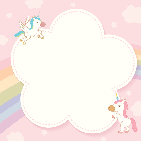 Illustration vector of cute unicorn decorated with rainbow and pink pastel sky background design for memo notepad template. Ilustração