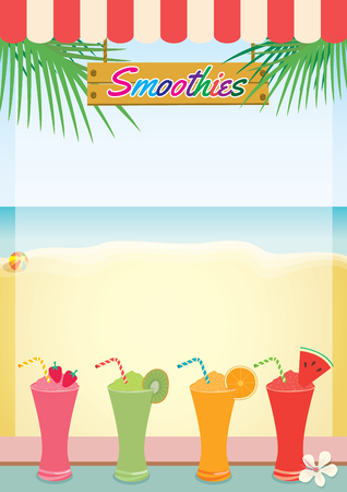 Illustration vector of smoothies summer on beach background for menu template.