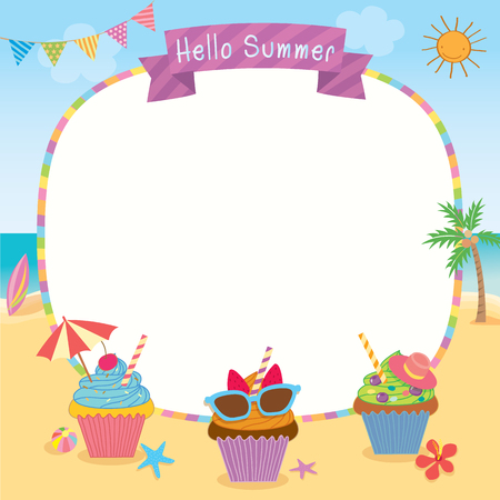 Happy Birthday Card Design With Ice Cream Decorated To Summer