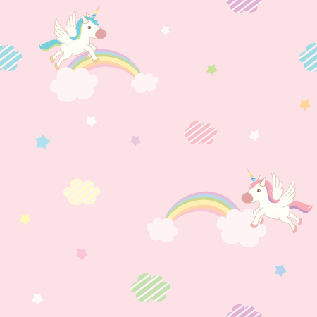 rainbow sky: Cute unicorn flying on pink sky decorated with rainbow cloud and star design for seamless pattern. Illustration