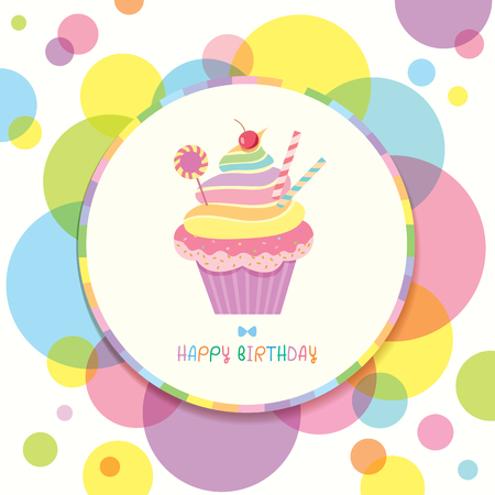 wishing card: Rainbow cupcake decorated with colorful circle design for birthday card.