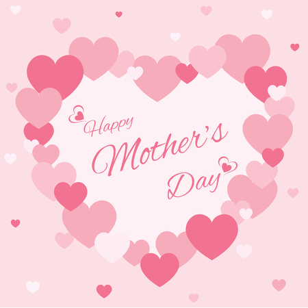 Pink hearts decorated to heart shape design for Mothers day card.