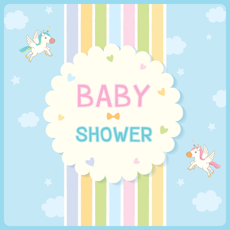 rainbow sky: Baby shower card for new born design with rainbow and blue sky background decorated with cute unicorn and stars.