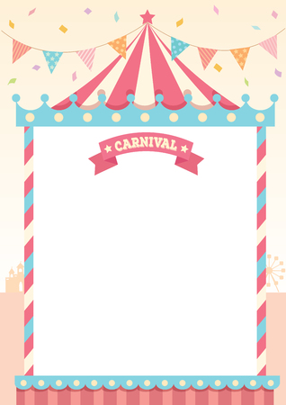 Illustration vector of circus tent of carnival decorated with bunting and sign on theme park background design for template.