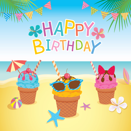 Happy birthday card design with ice cream decorated to summer season on beach background. Vectores