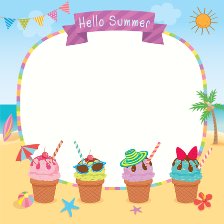 Ice cream decorated for summer season on beach background design for template border frame.