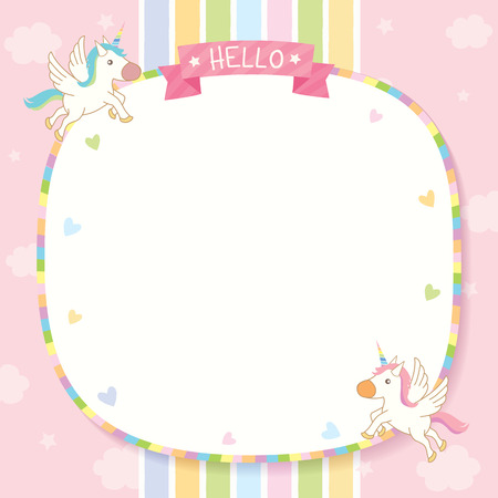 Illustration vector of cute unicorns flying on pink sky with rainbow background design for memo template.
