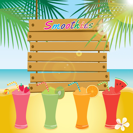 beach party: Illustration vector of wood sign template on beach background with summer smoothies beverage drink design for summer season