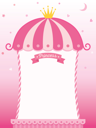 プリンセスのかわいいフレームのイラスト ピンク背景デザイン テンプレートにクラウン飾られています。