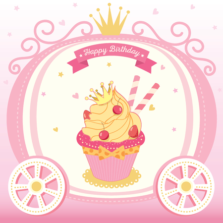 Illustration vector of cute princess cupcake decorated on cart with crown on pink background design for Happy Birthday card. Illustration
