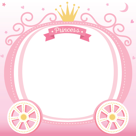 Illustration vector of cute princess cart decorated with crown on pink background design for frame and template.