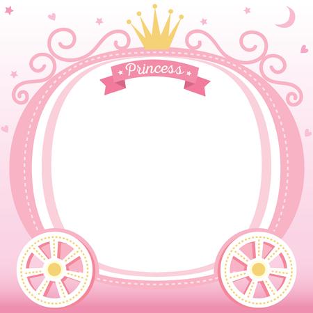 Illustrationsvektor des netten Prinzessinkarre verziert mit Krone auf rosa Hintergrunddesign für Rahmen und Schablone. Standard-Bild - 77609192