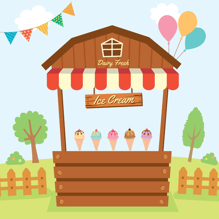 Illustration vector of dairy fresh Ice cream booth design with wood and awning decorated on  natural farm in party background.
