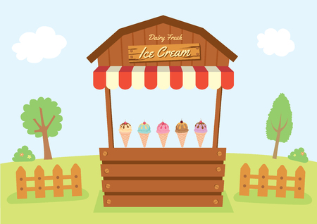 Illustration vector of dairy fresh Ice cream booth design with wood and awning decorated on natural farm background.