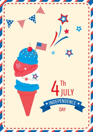 Ice cream cone design for Happy Independence day United states of America, 4th July on retro style background.