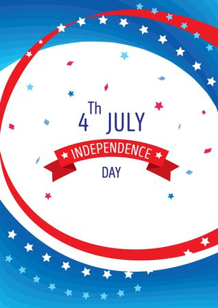 Happy Independence day United states of America, 4th July background with blue red and white color.