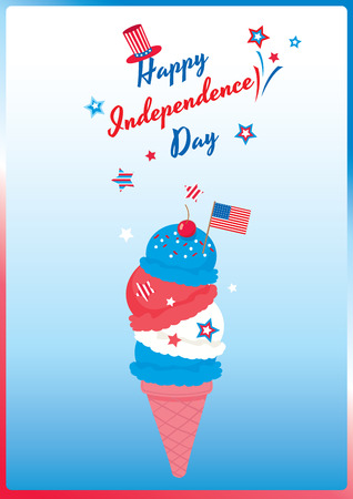 Ice cream cone design for Happy Independence day United states of America, 4th July.