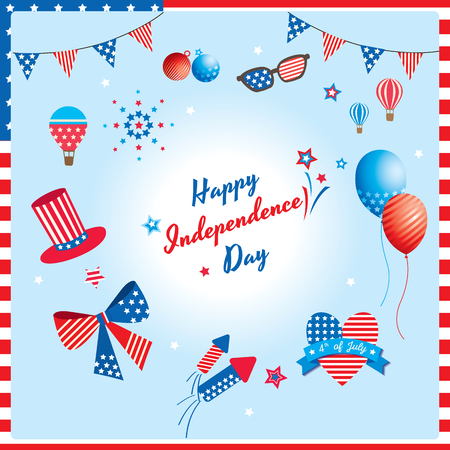 Happy Independence day United states of America design,Memorial day with ornaments for decoration, 4th July