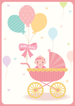 Cute baby girl shower greeting card for new born decorated with cute baby girl shower greeting card for new born decorated with baby carriage balloons on pastel m4hsunfo