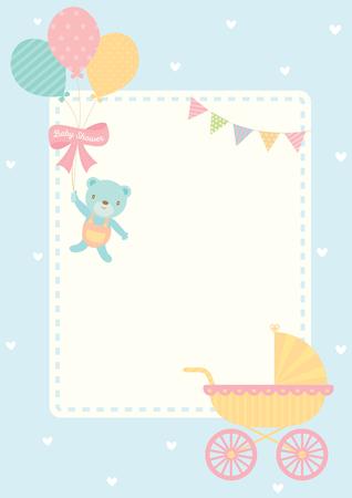 bébé mignon carte de voeux de bébé pour votre nouveau-né décoré avec landau et ours poupée tenant des pommes de soleil sur le pastel bleu pour le modèle de fond de carte .