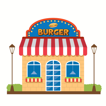 junkfood: Vector Graphic of the Burger shop decoration with the Burger Signage located next to the green bushes and the light poles Illustration