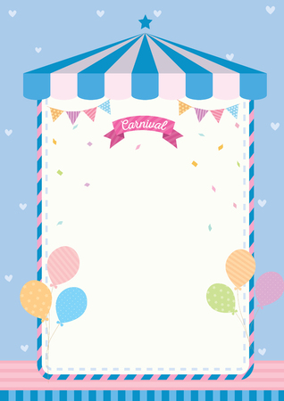 Cute carnival template decorated with circus tent, buntings and balloons on blue background.