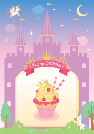 Princess cupcake decorated with cute castle template on fairy tale background with unicorn.