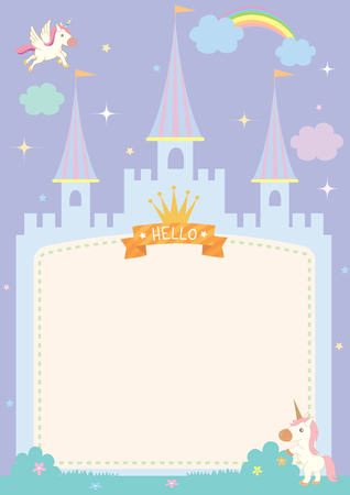 Illustration of cute castle template on fairy tale background with unicorn and rainbow in purple pastel sky. 일러스트