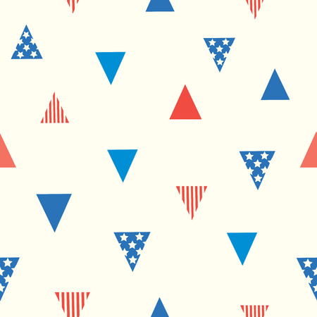 pattern: Seamless pattern symbol of flag on triangle shape design with stripe on red and stars on blue background.